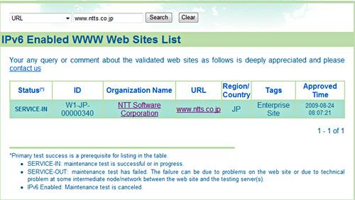 当社サイトがIPv6に対応していることを示している