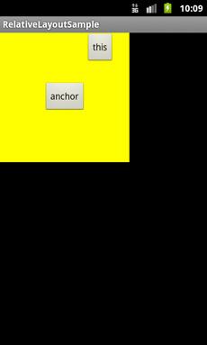 図 3-4 android:layout_toRightOf属性で配置した例