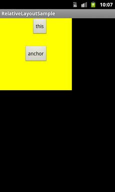 図3-5 android:layout_alignRight属性で配置した例