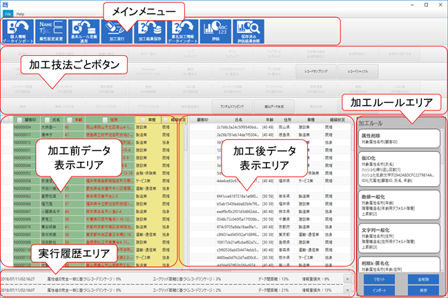 匿名加工情報作成ソフトウェアの画面イメージ